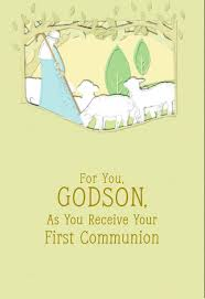 lamb of god first communion card for godson greeting cards