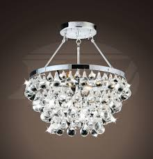 Flush Mount Chandeliers by Modern Style Sparkling Glass Crystal 5 L Chrome Flash Mount