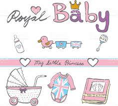 hand sketch royal british baby toy cloths album stock vector