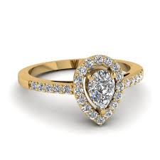 1 carat engagement rings 1 carat pear halo diamond engagement ring for women in 14k yellow
