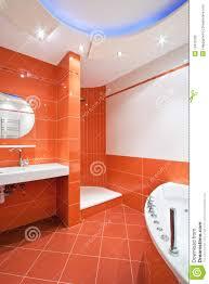 Orange Bathrooms Bathroom In Orange And White Colors Stock Photo Image 12413100