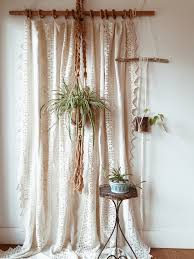 Boho Window Curtains Vintage Homespun Linen And Cotton Crochet Window Panel Coverlet