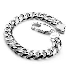 solid sterling silver mens bracelet images Fashion and personality curb cuban link mens bracelet double chain jpg
