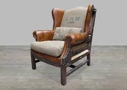 Leather High Back Armchair Leather Furniture Manufacturer From Jodhpur