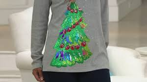 quacker factory holiday sequin tree long sleeve t shirt page 1