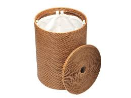 amazon com kouboo round rattan hamper with cotton liner honey