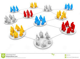 business groups and different in a line con stock image