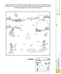dot to dot and coloring page letter a apple and ants stock