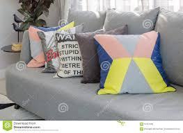 Grey Sofa Living Room Colorful Pillows On Modern Grey Sofa In Living Room Stock Photo