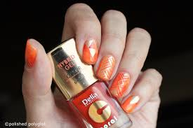 nail art designs for short nails orange saran wrap polished