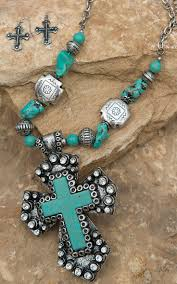 475 best country girl style images on pinterest blazin roxx silver turquoise cross pendant with stone cross beads jewelry set 30372