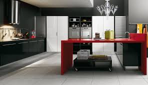 luxury kitchen design with unique red gloss cabinets using classy