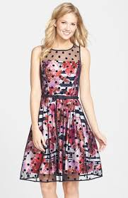 eliza j dresses eliza j belted print mixed media fit flare dress available at