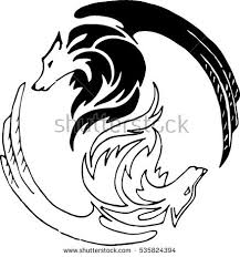 abstract wolf symbol yin yang stock vector 535824394