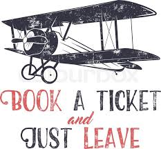 vintage airplane typography poster lettering and old biplane