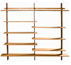 Beech Bookshelves by Organic Modernism Hanging Shelving Unit Walnut Poles Beech Veneer