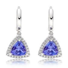 tanzanite earrings 18ct white gold diamond tanzanite earrings 0102050