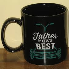 funny punny father mows knows best coffee mug with push lawn