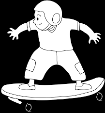 skateboarding kid coloring page free clip art