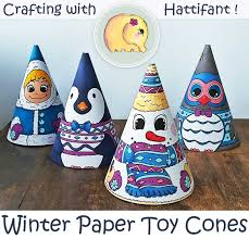 winter paper toy cones snowman owl and more hattifant