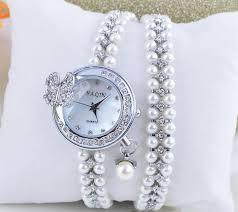 womens diamond bracelet watches images Diamond pearl bracelet watch women with butterfly pendant design jpg