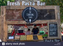 fresh pasta bar castle grounds abergavenny food festival stock