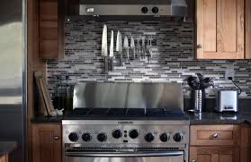kitchen with stainless steel backsplash stainless steel backsplash behind stove u2014 smith design stainless