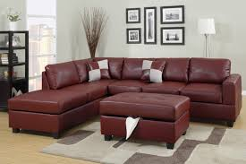 Sectional Sofa With Storage Burgundy Bonded Leather Sectional Sofa With Reversible Chaise Free
