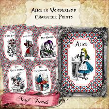 alice wonderland character prints wonderland decoration alice