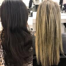 platinum blonde and dark brown highlights from dark brown to blonde in one appointment virginhair