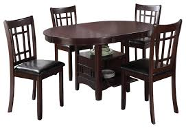 Dining Room Tables With Storage Espresso Lavon 5 Piece Dining Set Storage Solid Wood Table Padded
