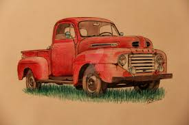 1949 ford truck drawing by prestonthecarartist on deviantart