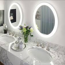 bathroom mirror defogger round led lighted wall mount vanity bathroom mirror sol with