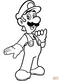 luigi from mario bros coloring page free printable coloring pages