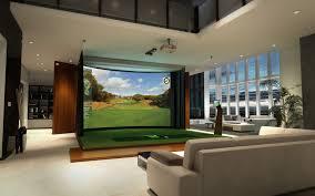 indoor golf simulator room resolution curved widescreen golf