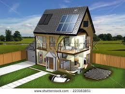 house energy efficiency energy efficient house garden background stock illustration