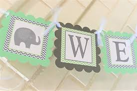 green baby shower decorations mint and gray welcome baby elephant baby shower banner