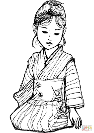 japanese in kimono coloring page free printable coloring pages