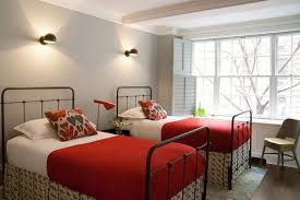 gray and red bedroom bedroom design soft gray walls paint color iron twin beds red