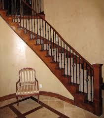 Banister Handrail Wood Railing With Wrought Iron Balusters Traditional Staircase