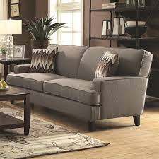 Track Arm Sofa Coaster 505031 Finley Track Arm Sofa With Cement Grey Tone Upholstery