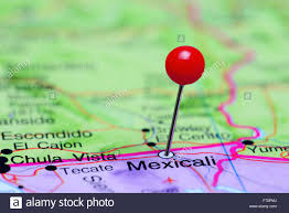 Maps Of Mexico by Mexicali Pinned On A Map Of Mexico Stock Photo Royalty Free Image