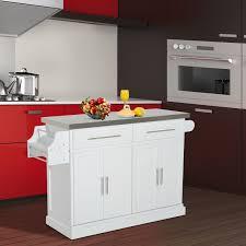 steel top kitchen island homcom modern rolling storage cart with steel top kitchen island