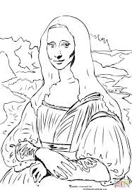 mona lisa la gioconda by leonardo da vinci coloring page free