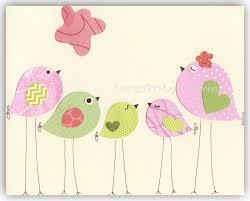 Hayley Nursery Bedding Set by Nursery Bird Decor Baby Girl Tweet Bird Art Decor Love