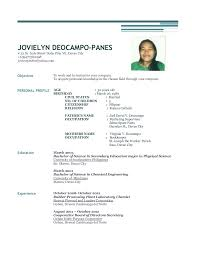 Sample Resume For Abroad by Jovielyn Deocampo