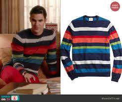 blaine u0027s multi colored stripe sweater on glee details