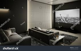 home theater room modern luxury interior stock illustration