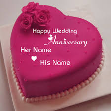 wedding anniversary cakes happy wedding anniversary wishes heart name cake