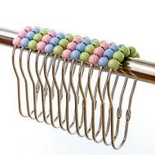 4pcs 5 roller ball color shower curtain hooks glide rings diy